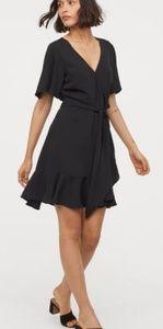 H&M - V-Neck Wrap Dress/ Black/ 4